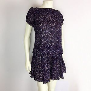 Vintage 80s 90s drop waist midi dress polka dots